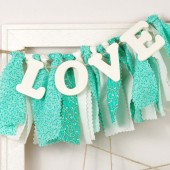 Mint Green and Aqua LOVE banner