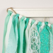 Mint Green and Aqua Rag Banner Garland