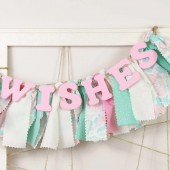 Pink and Mint Green WISHES banner