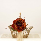 Fall Wedding Flower Girl Basket with Burnt Orange Flower