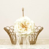 Vintage Metal and Wicker Flower Girl Basket with Ivory English Rose