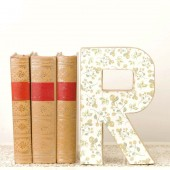 Letter R Monogram - Cake Topper - Yellow Roses