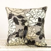 Ring Bearer Pillow in Black, Gray and Ivory
