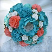 teal and Coral Paper Bouquet