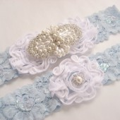 Something Blue Lace and Pearl Garter Set