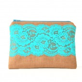 brown linen pouch with aqua vintage lace