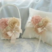 Blush Blossoms Flower Girl Basket and Pillow Set