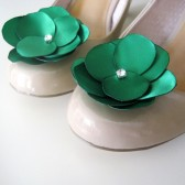 Simple Green Shoe Clips Satin Flowers