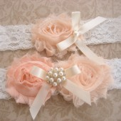 Blush Peach Wedding Garter Set