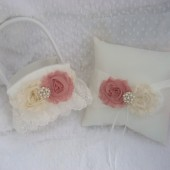 Ivory Champagne Flower Girl Basket and Pillow Set