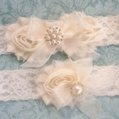 Ivory Cream Wedding Garter Set