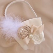 Champagne and Ivory Flower Girl Basket