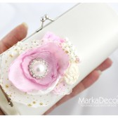 Bridal Clutch Purse in Pink and Ivory with Gorgeous Handmade Flowers, Brooches, Pearls and my Stamens' Accents