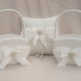 Two Flower Girl Baskets and Ring Pillow Set