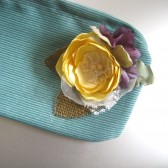 Aqua and Yellow Zipper Pouch Cosmetic bag Fabric pouch Gift