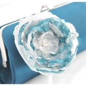 Bridal Clutch Purse in Navy Dark Blue and White with Beautiful Handmade Flowers, Brooches and Pearls