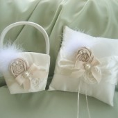 Elegant Flower Girl Basket and Pillow Set