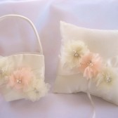Peaches and Cream Flower Girl Basket Set