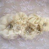 Bridal Sash 3D Ivory Vintage Wedding Sash