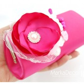 Bridal Clutch Purse in Fuchsia Hot Pink and White with Beautiful Handmade Flowers, Brooches and Pearls