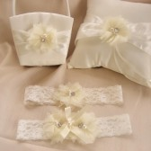 Simple and Chic Wedding Basket, Pillow and Garter Set