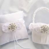 White Flower Girl Basket and Pillow Set with Pearls and Rhinestones