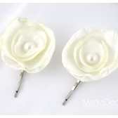 Set of 2 Bobby Pins with Handmade Flowers and Pearls in Ivory