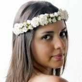 Creamy White Roses Floral Crown,