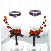 Wedding Autumn Glasses with Flowers, Brooches and Stemens in Dark Brown, Purple and Orange (1 Pair)