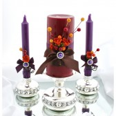 Wedding Unit set of 3 candles Purple, Dark Brown and Orange