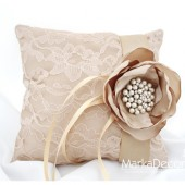 Wedding Ring Pillow with Brooch, Handmade Big Flower in Tan and Champagne