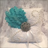 wedding pillow, ring pillow, ring bearer pillow, blue wedding, flower girl basket, blue and white pillow