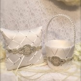 flower girl basket, flower girl, ring pillow, silver wedding, rhinestone wedding, wedding set