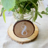 Wood Round Table Numbers with Bark