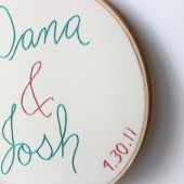 Embroidered Bride and Groom names with Wedding Date sign