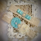 bridal garters, garter set, bridal accessories, something blue, tiffany blue wedding, toss garter