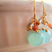 Mint Peach Drop Earrings