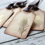 Embossed Feather Escort Card Tag