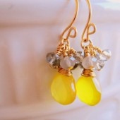 Yellow and Gray Drop Cluster Earrings
