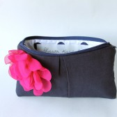 Bridesmaid Clutch, Navy and Fuchsia