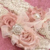 Shabby Rose Wedding Garter Set