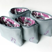 Monogram Cosmetic Bag, Purple and Gray