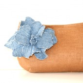 brown linen clutch with denim flower brooch