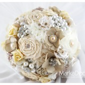 Brooch Bouquet Bridal Bouquet Jewelled Bouquet in Cream Tan Champagne and Ivory