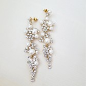 Bridal Chandelier Earrings- Long Rhinestone Wedding Pearl Earrings