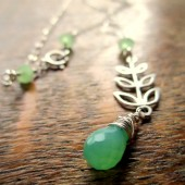 Green Silver Leaf Necklace