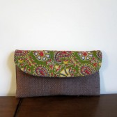 Bridesmaid Set of 4 clutches Wedding gift pouch bag Burlap clutch Brown Green