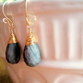 Gray Black and Gold Drop Earrings