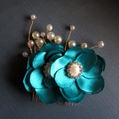 Luxe Teal Bridal Comb Peacock Wedding Handmade