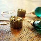 Emerald Gold Druzy Earrings
